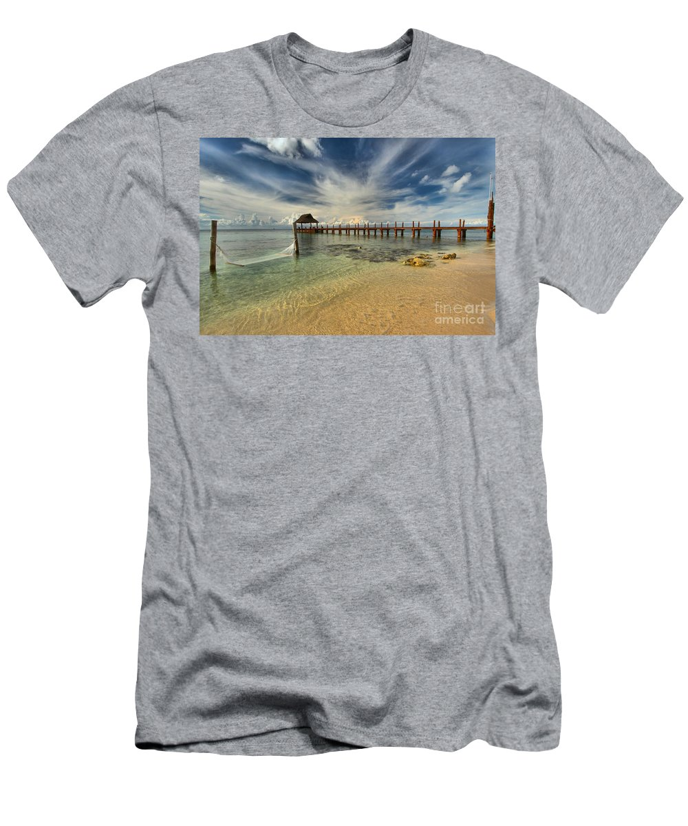 Caribbean Ocean Men's T-Shirt (Athletic Fit) featuring the photograph Caribbean Ocean Pier by Adam Jewell