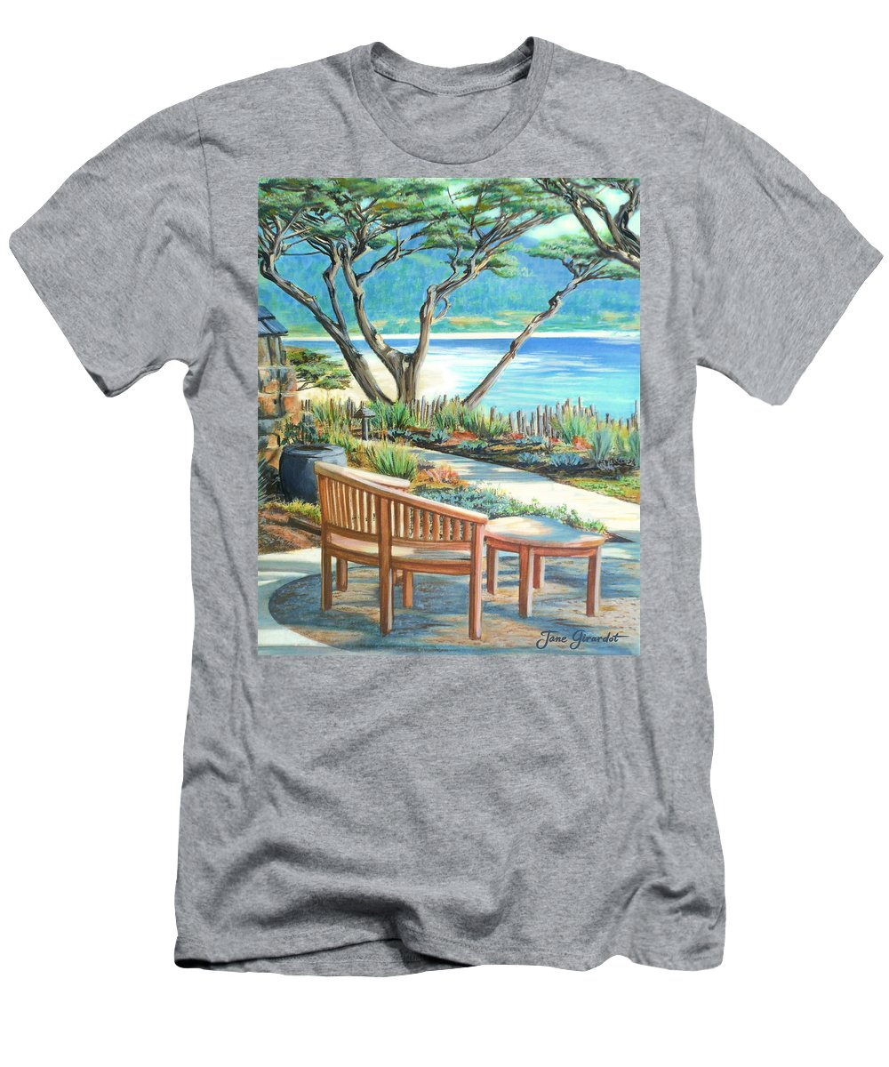 Carmel Men's T-Shirt (Athletic Fit) featuring the painting Carmel Lagoon View by Jane Girardot