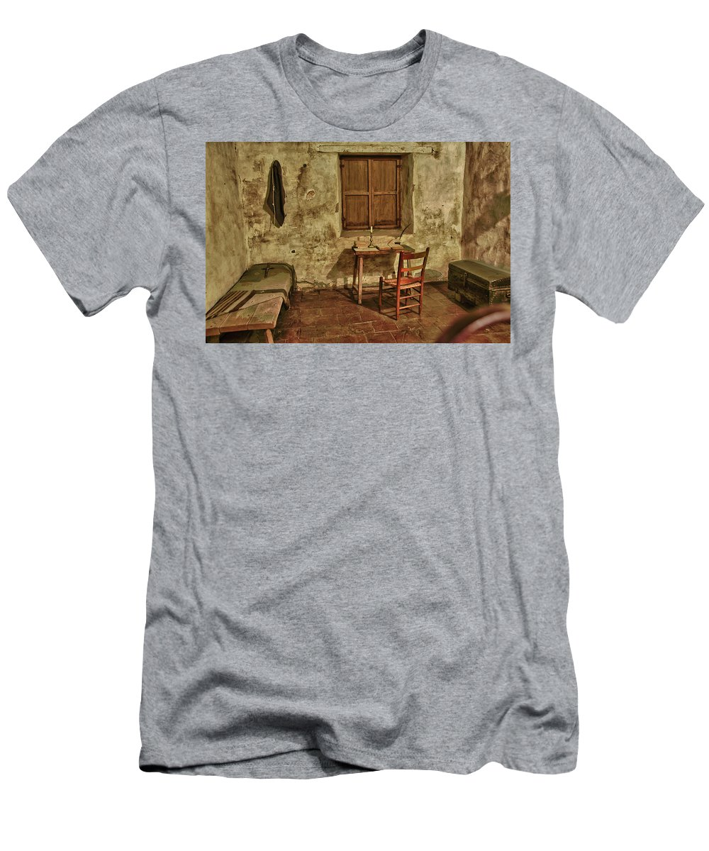 Carmel California Men's T-Shirt (Athletic Fit) featuring the photograph Carmel Mission California 1 by Ron White