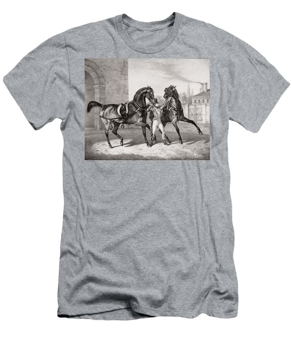 Horse Men's T-Shirt (Athletic Fit) featuring the drawing Carriage Horses For The King by French School
