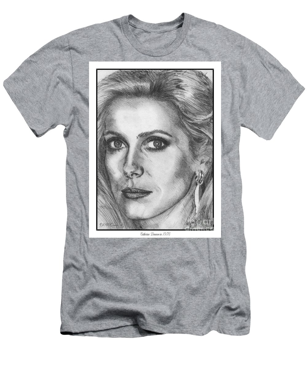 Mccombie Men's T-Shirt (Athletic Fit) featuring the drawing Catherine Deneuve In 1976 by J McCombie