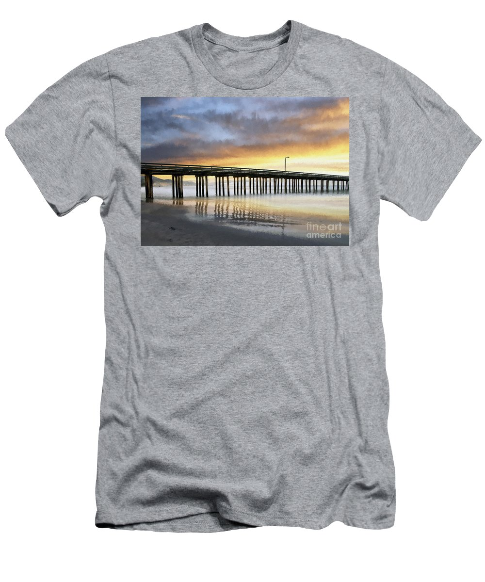 Cayucos Men's T-Shirt (Athletic Fit) featuring the photograph Cayucos Pier Reflected Impasto by Sharon Foster