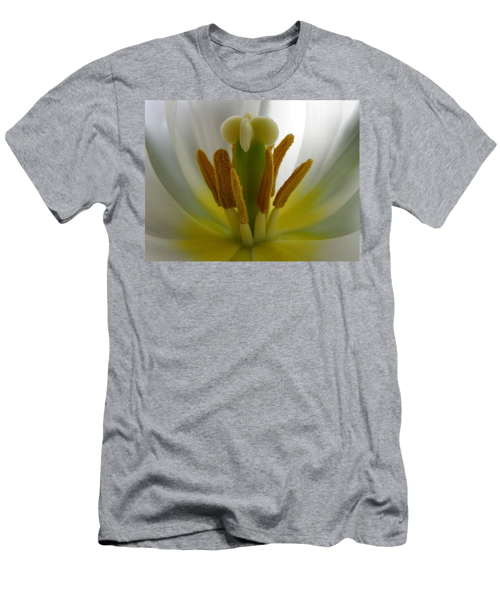 Tulip Men's T-Shirt (Athletic Fit) featuring the photograph Center Of The Tulip by Deb Halloran