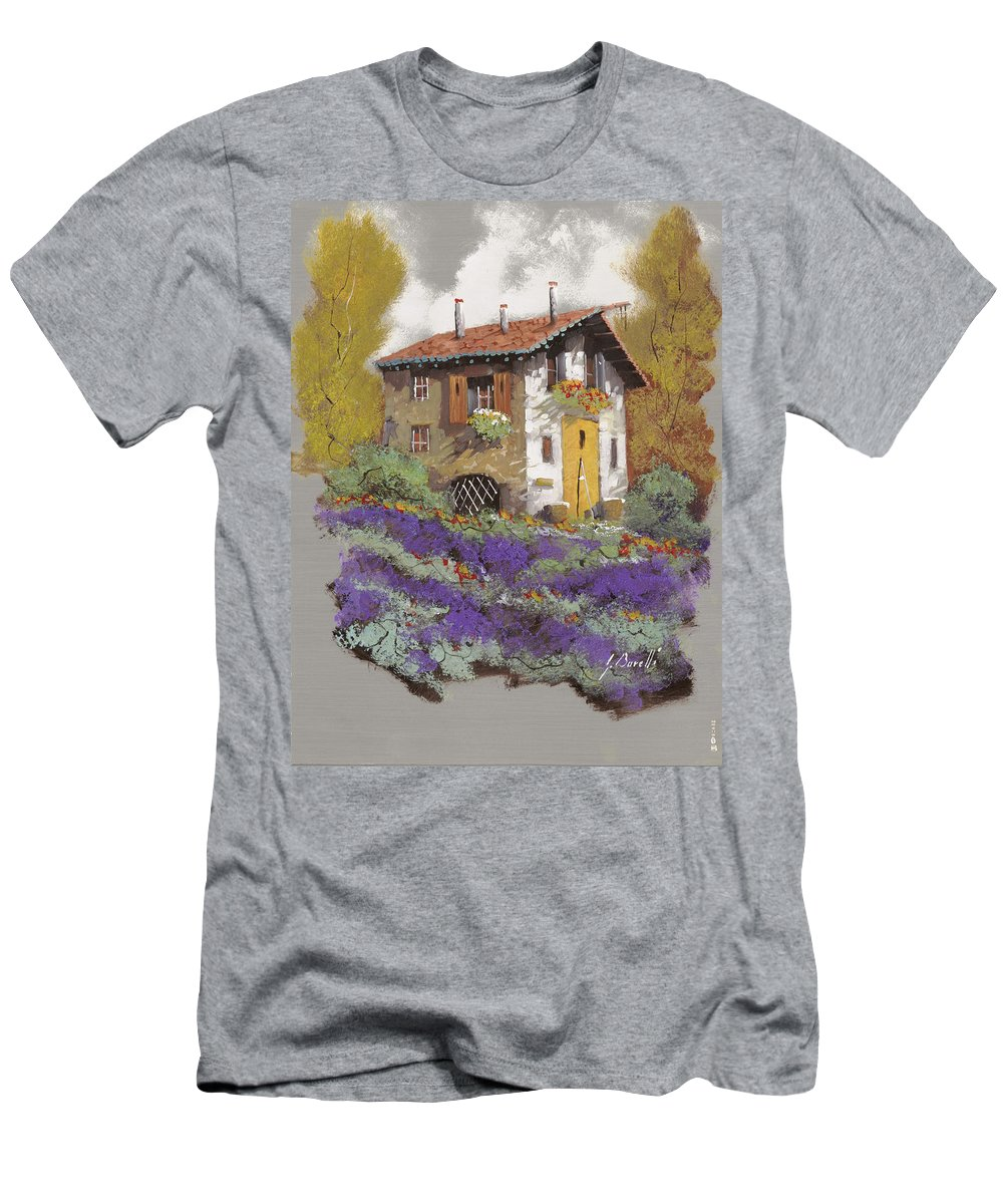 Landscape Men's T-Shirt (Athletic Fit) featuring the painting Cento Lavande by Guido Borelli