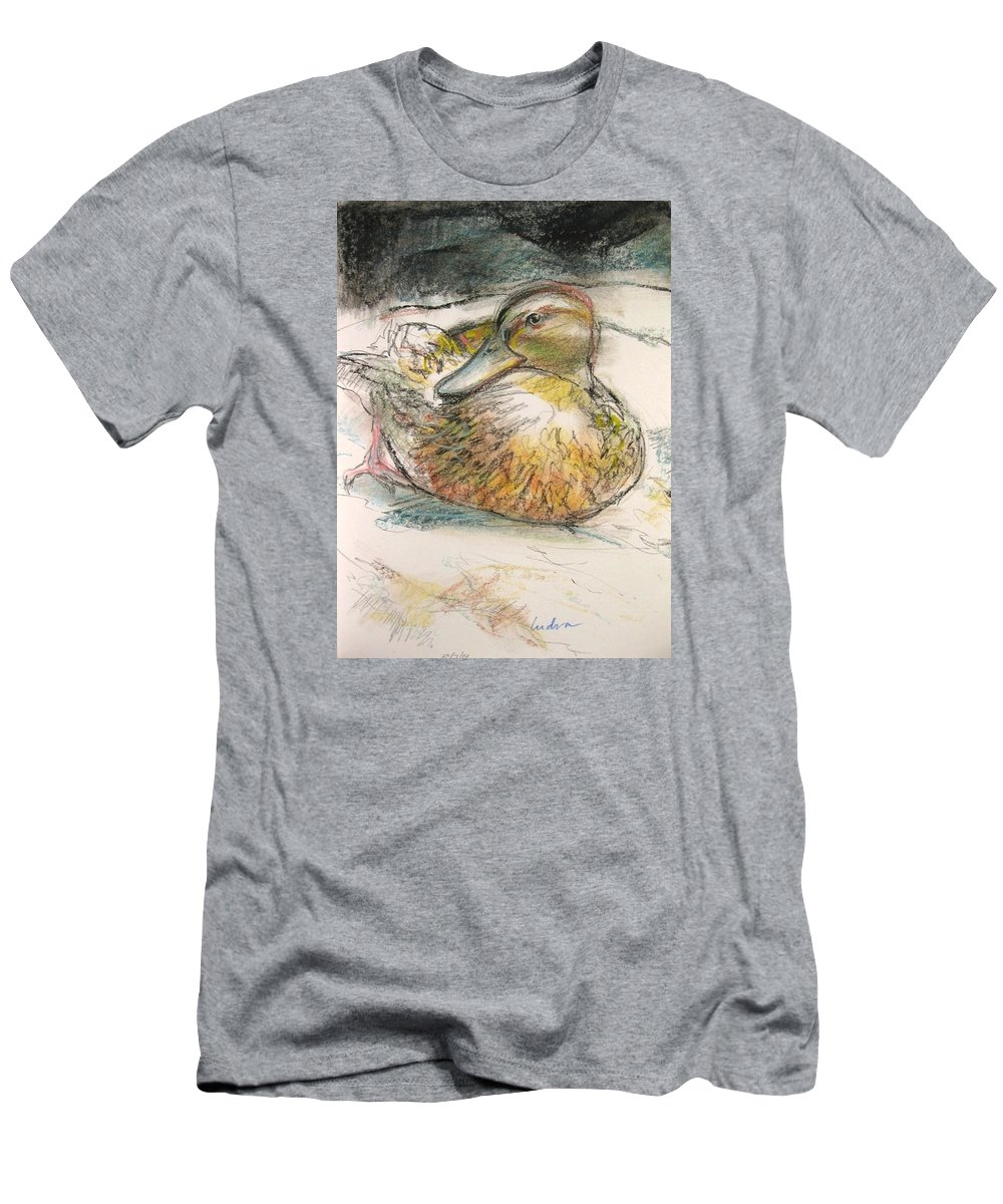 Duck Men's T-Shirt (Athletic Fit) featuring the drawing Central Park Duck On The Rocks by Indra Singh
