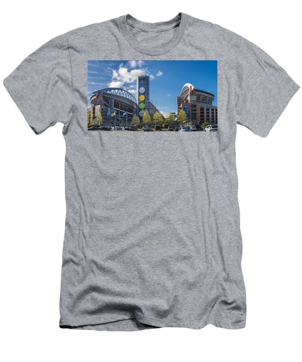 Century Link Field Men's T-Shirt (Athletic Fit) featuring the photograph Century Link Field by Mike Penney