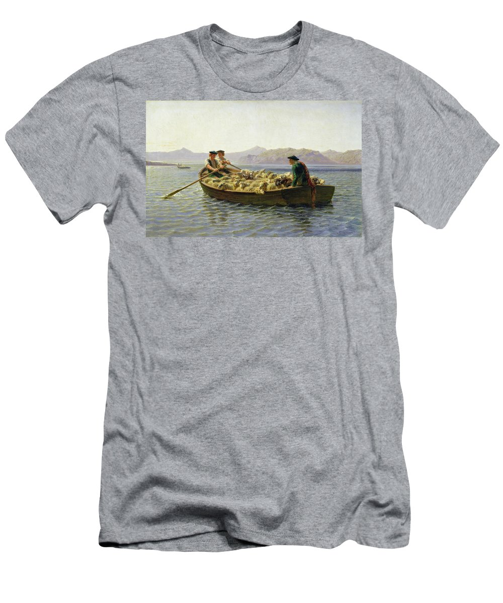 Rosa Bonheur Men's T-Shirt (Athletic Fit) featuring the painting Changing Of Meadow by Rosa Bonheur
