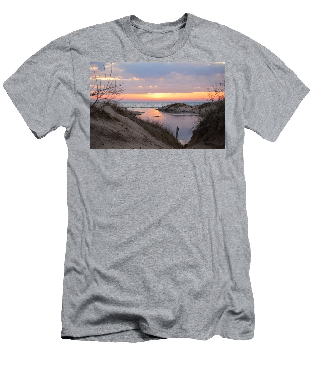 Lake Michigan Men's T-Shirt (Athletic Fit) featuring the photograph Channel Sunset by Linda Kerkau