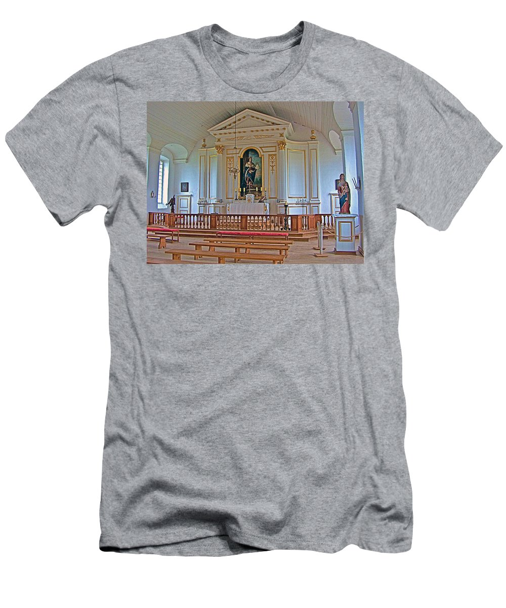 Chapel In King's Bastion In Louisbourg Living History Museum Men's T-Shirt (Athletic Fit) featuring the photograph Chapel In King's Bastion In Louisbourg Living History Museum-174 by Ruth Hager