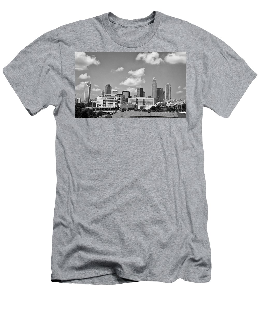 Skyline Men's T-Shirt (Athletic Fit) featuring the photograph Charlotte Skyline In Black And White by Jill Lang
