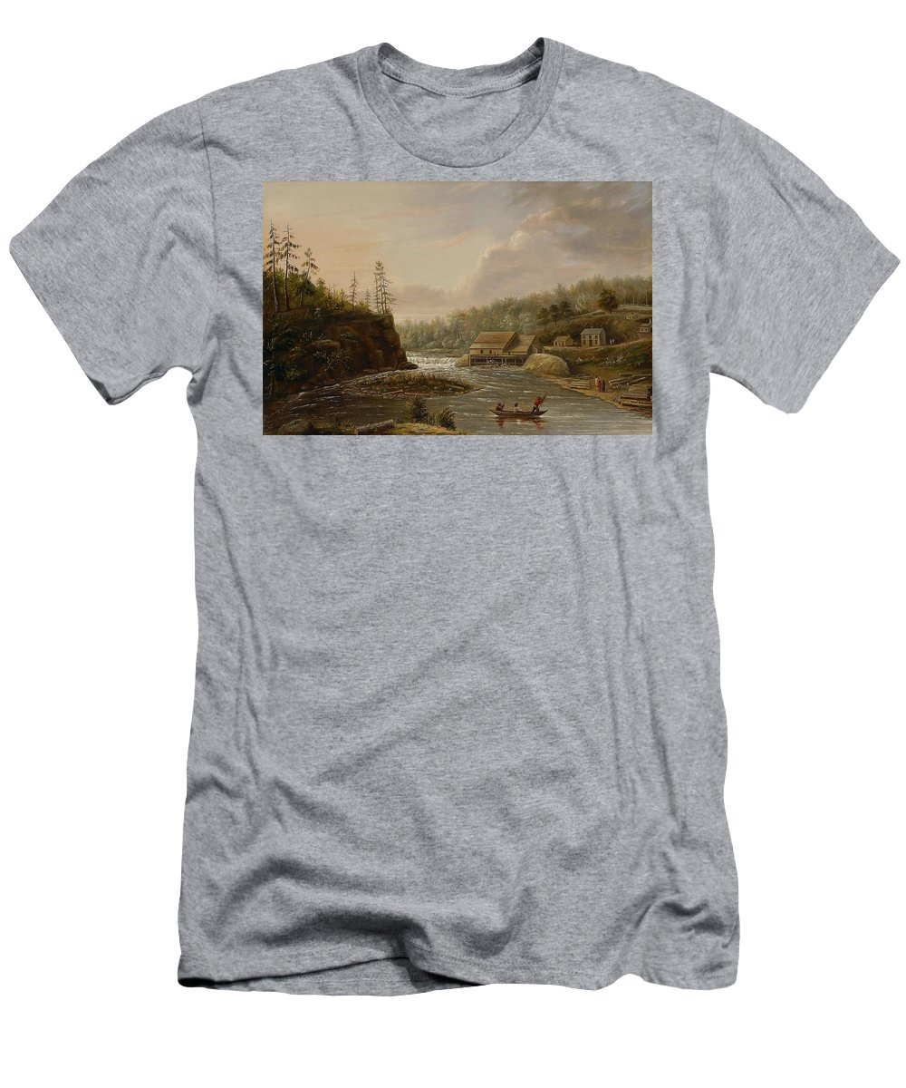 Cheever's Mill; St. Croix River; Landscape; Minnesota; Mill; Building; Industry; Industrial; Industrialisation; Boat; Figures; Houses; Buildings; Exterior; Flowing; Water; Trees; Woodland; Logging; Timber; America; American; Usa; Settlers; Settlement; Hudson River School; Wood Men's T-Shirt (Athletic Fit) featuring the painting Cheevers Mill On The St. Croix River by Henry Lewis