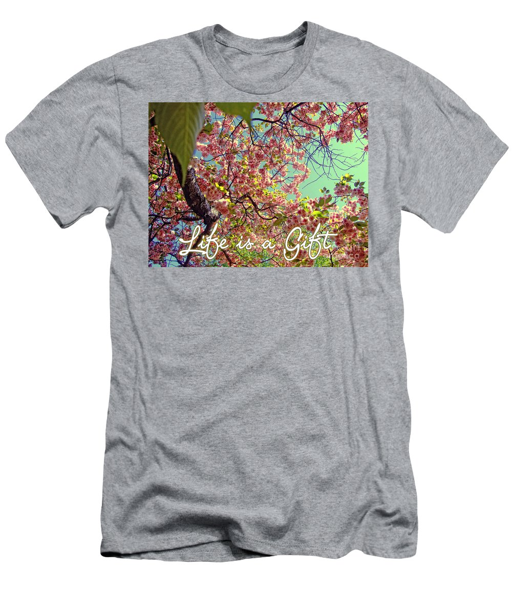 Quotes Men's T-Shirt (Athletic Fit) featuring the photograph Cherry Blossoms And A Life Quote by Nishanth Gopinathan