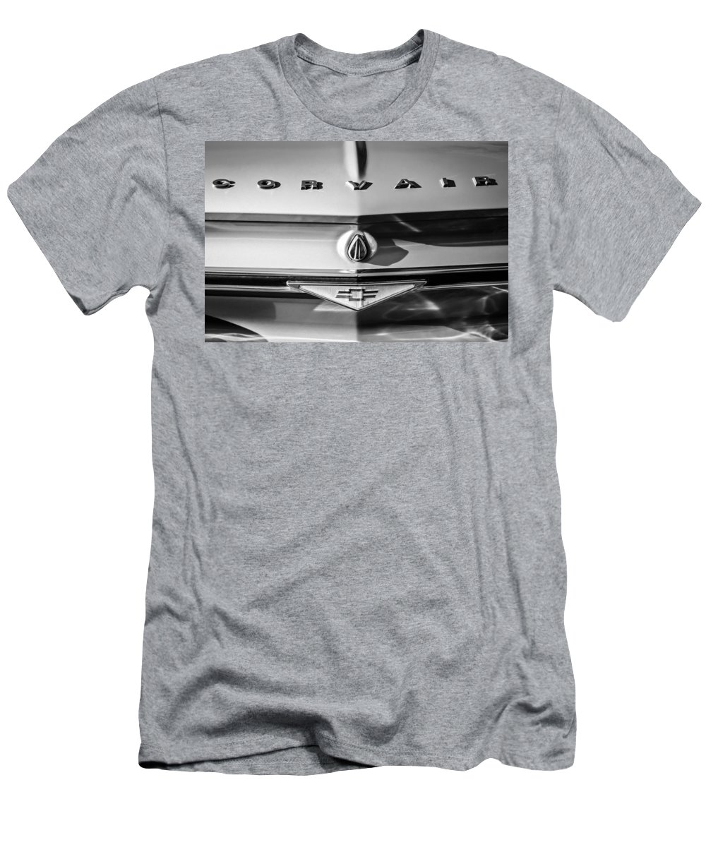 Chevrolet Corvair Emblem Men's T-Shirt (Athletic Fit) featuring the photograph Chevrolet Corvair Emblem -0082bw by Jill Reger