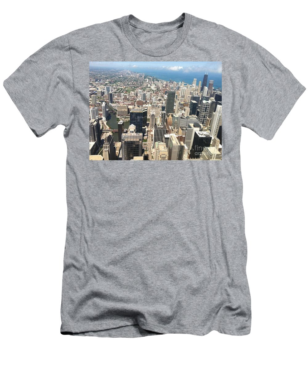 Chicago Men's T-Shirt (Athletic Fit) featuring the photograph Chicago Buildings by Robin Maria Pedrero