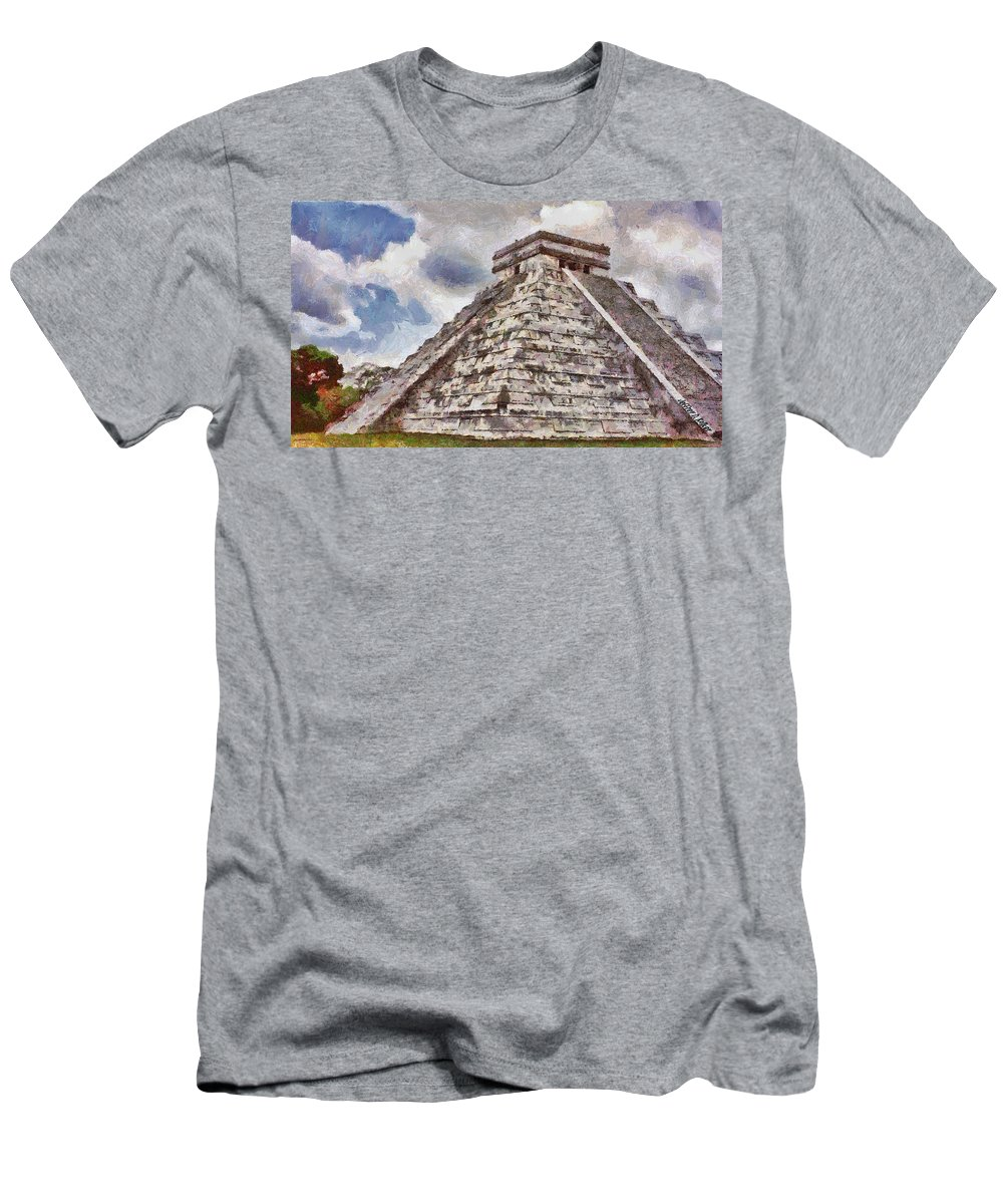 Yucatan Men's T-Shirt (Athletic Fit) featuring the painting Chichen Itza by Jeffrey Kolker