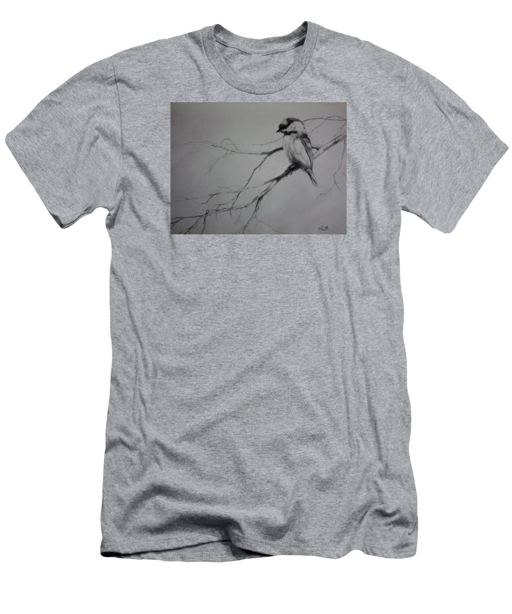 Black-capped Chickadee Men's T-Shirt (Athletic Fit) featuring the drawing Chickadee Sketch by Derrick Higgins