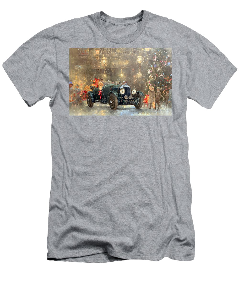 Motor Car Men's T-Shirt (Athletic Fit) featuring the painting Christmas Bentley by Peter Miller