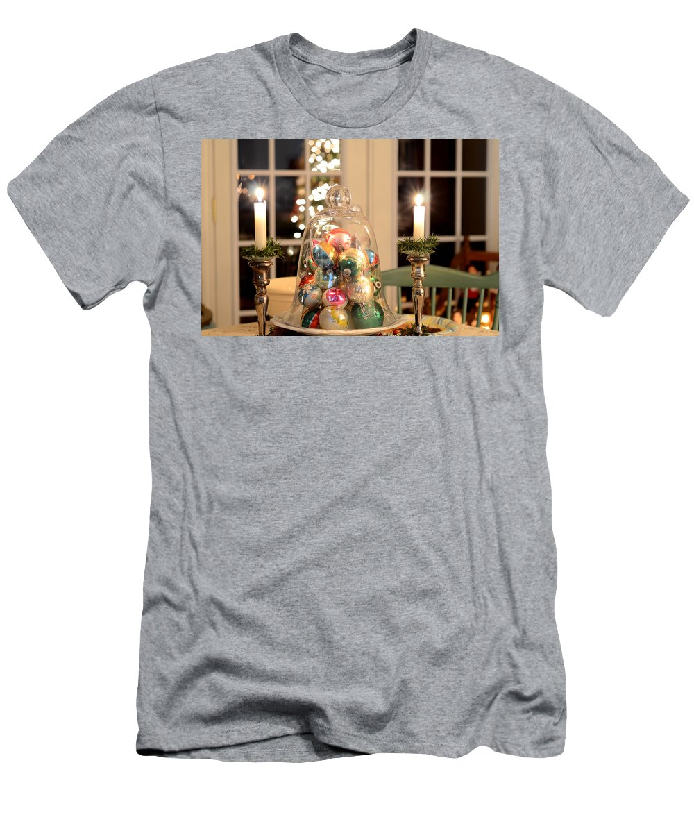 Blue Men's T-Shirt (Athletic Fit) featuring the photograph Christmas Ornaments by Charles Bacon Jr