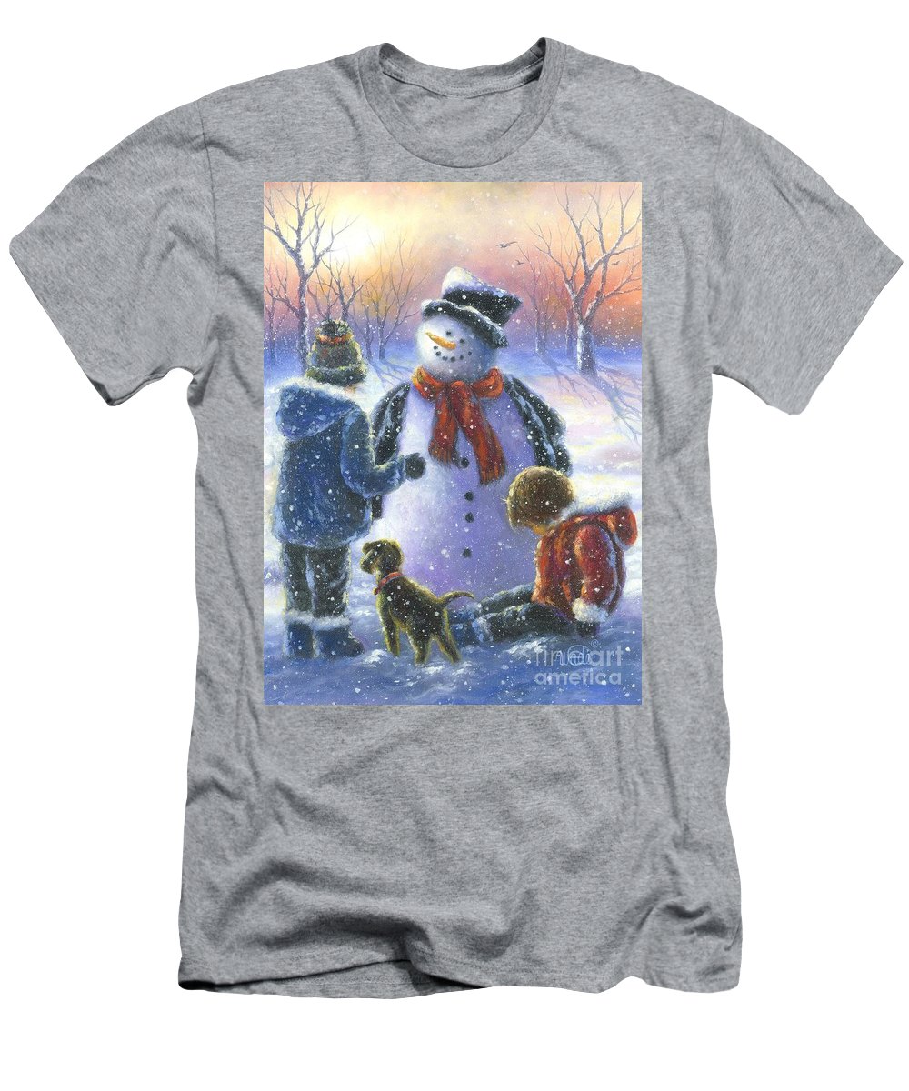 Snowman Men's T-Shirt (Athletic Fit) featuring the painting Chubby Snowman by Vickie Wade