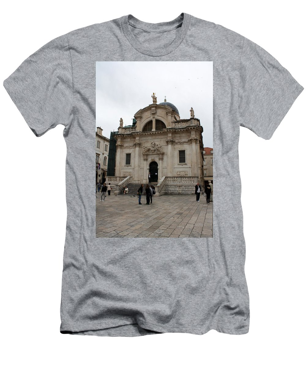 Dubrovnik Men's T-Shirt (Athletic Fit) featuring the photograph Church Of St. Blasius by David Nicholls