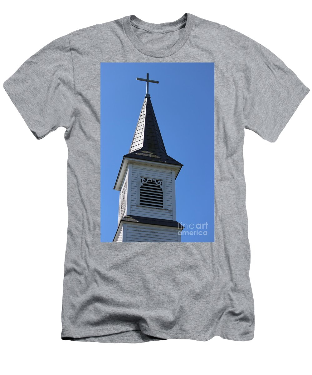 Church Men's T-Shirt (Athletic Fit) featuring the photograph Church Steeple In Buckley Washington by Cathy Anderson