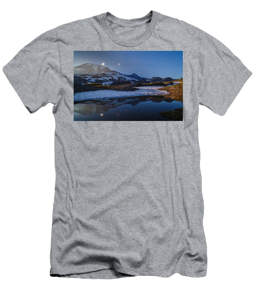 Rainier Men's T-Shirt (Athletic Fit) featuring the photograph Clear Water Rainier Reflection by Mike Reid