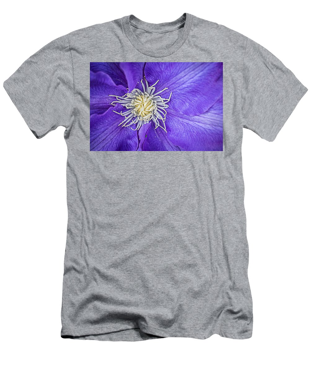 Clematis Men's T-Shirt (Athletic Fit) featuring the photograph Clematis Dramatis by Jon Woodhams