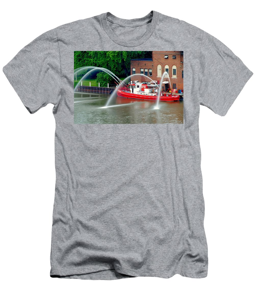 Cleveland Men's T-Shirt (Athletic Fit) featuring the photograph Cleveland Firehouse by Frozen in Time Fine Art Photography