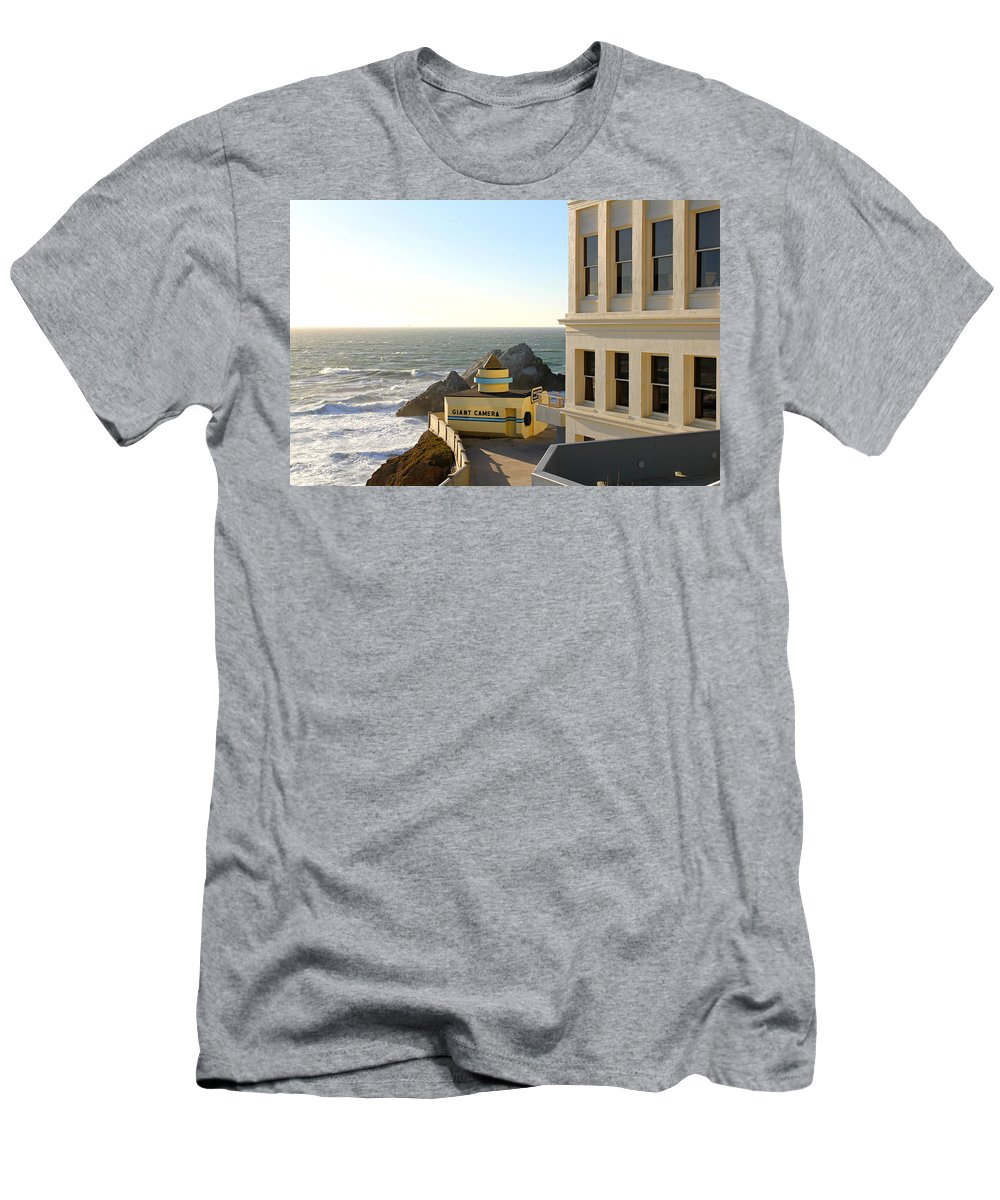 Cliff House Men's T-Shirt (Athletic Fit) featuring the photograph Cliff House Giant Camera by Steve Natale