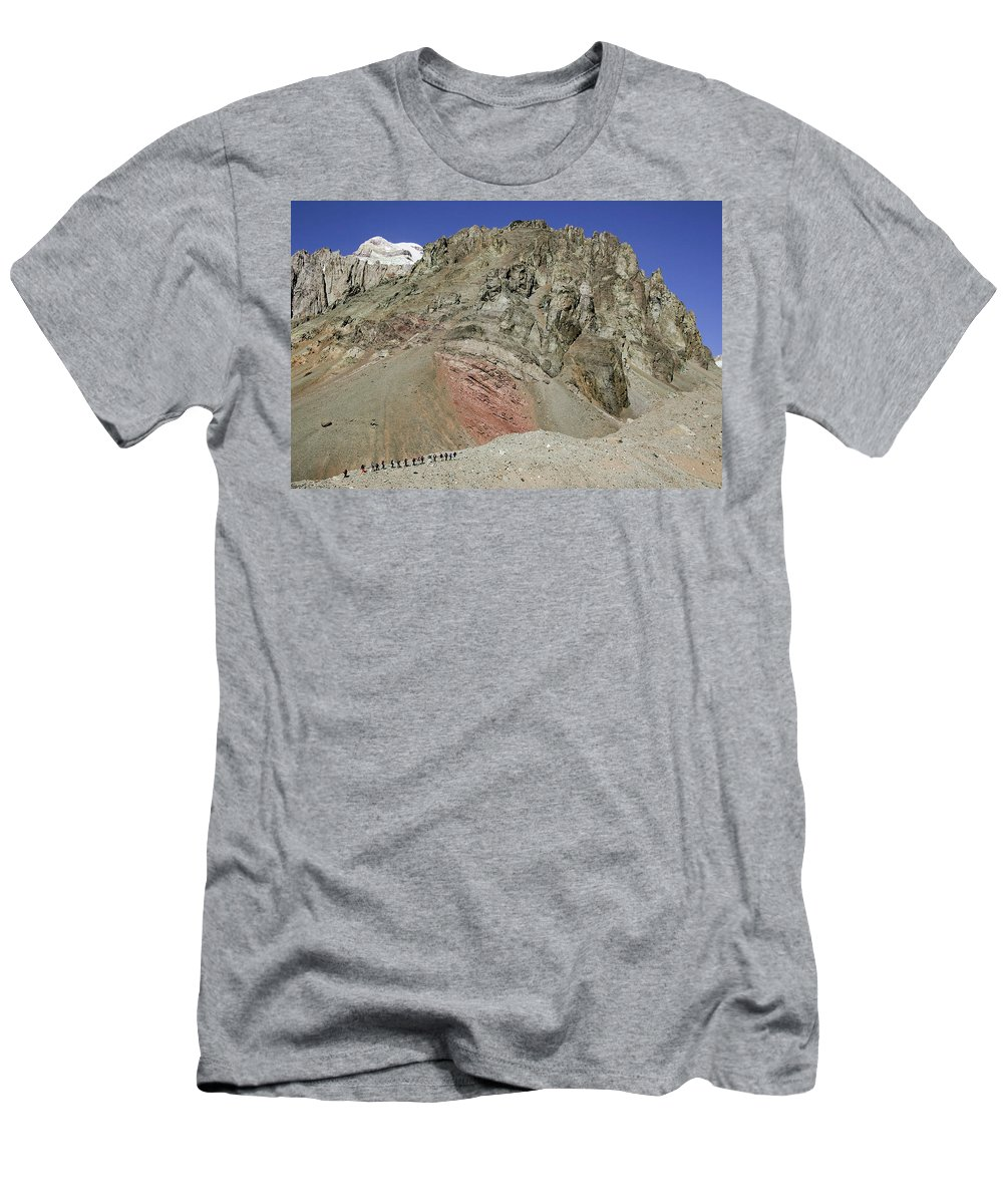 Aconcagua Men's T-Shirt (Athletic Fit) featuring the photograph Climbers Ascending Aconcagua, Argentina by Andrew Peacock