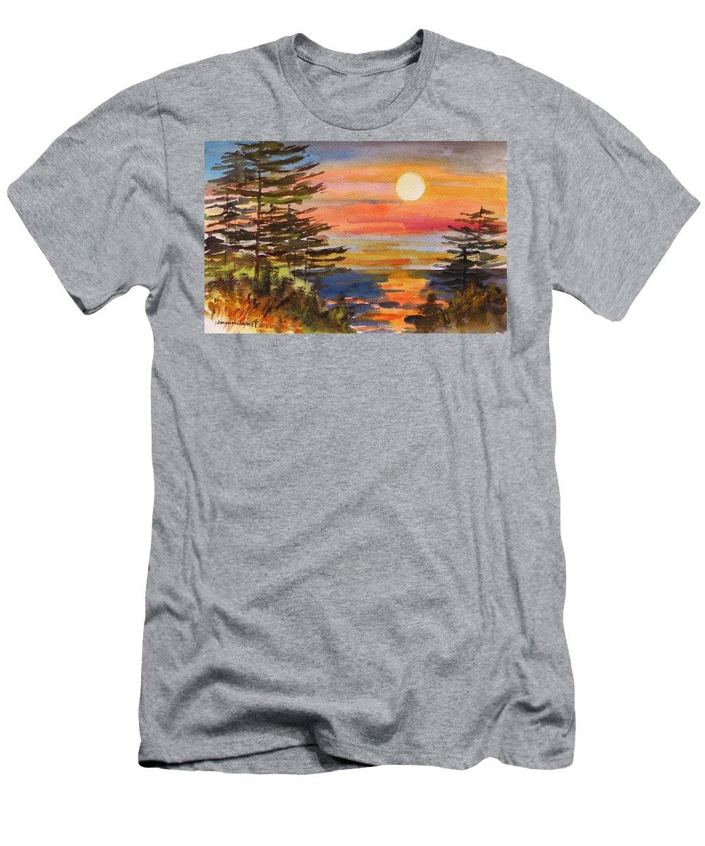Sunset Men's T-Shirt (Athletic Fit) featuring the painting Coastal Sunset by John Williams