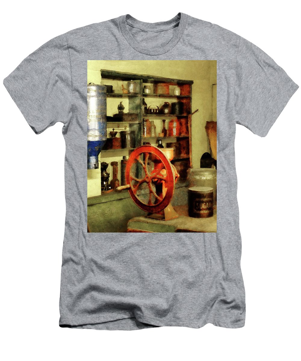 Coffee Grinder Men's T-Shirt (Athletic Fit) featuring the photograph Coffee Grinder And Canister Of Sugar by Susan Savad