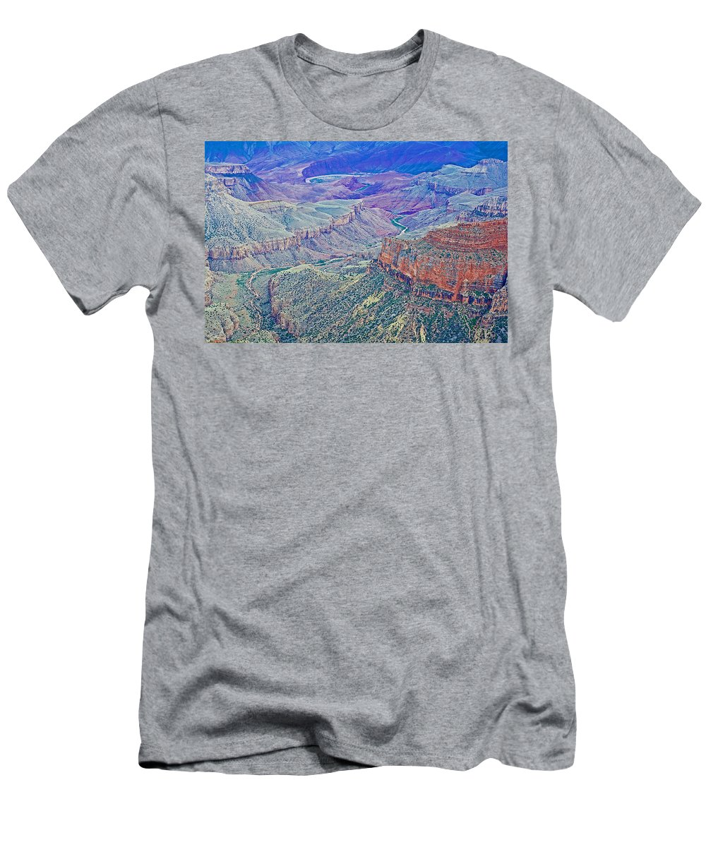 Colorado River From Walhalla Overlook On On North Rim/grand Canyon National Park Men's T-Shirt (Athletic Fit) featuring the photograph Colorado River From Walhalla Overlook On North Rim Of Grand Canyon-arizona by Ruth Hager