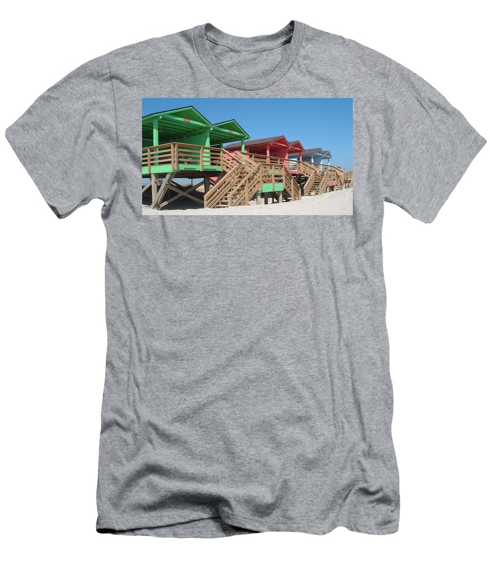 Camp Lejeune Men's T-Shirt (Athletic Fit) featuring the photograph Colorful Cabanas by Caryl J Bohn