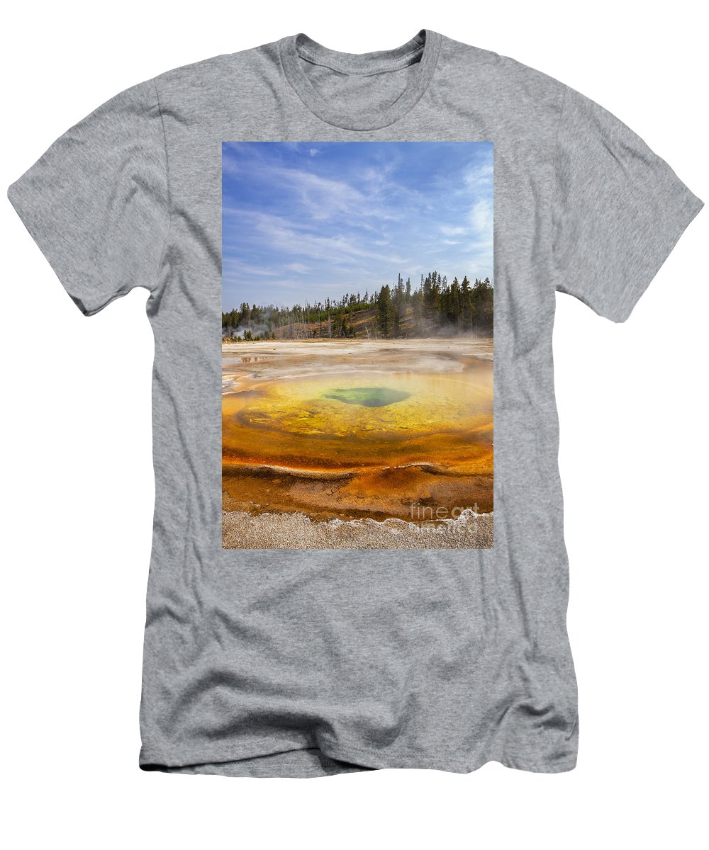 Yellowstone Men's T-Shirt (Athletic Fit) featuring the photograph Colorful Chromatic Geyser In Upper Geyser Basin by Bryan Mullennix
