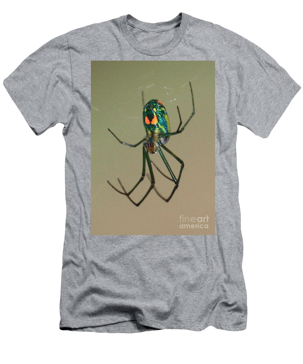 Spider Men's T-Shirt (Athletic Fit) featuring the photograph Colorful Spider In The Swamp by Carol Groenen