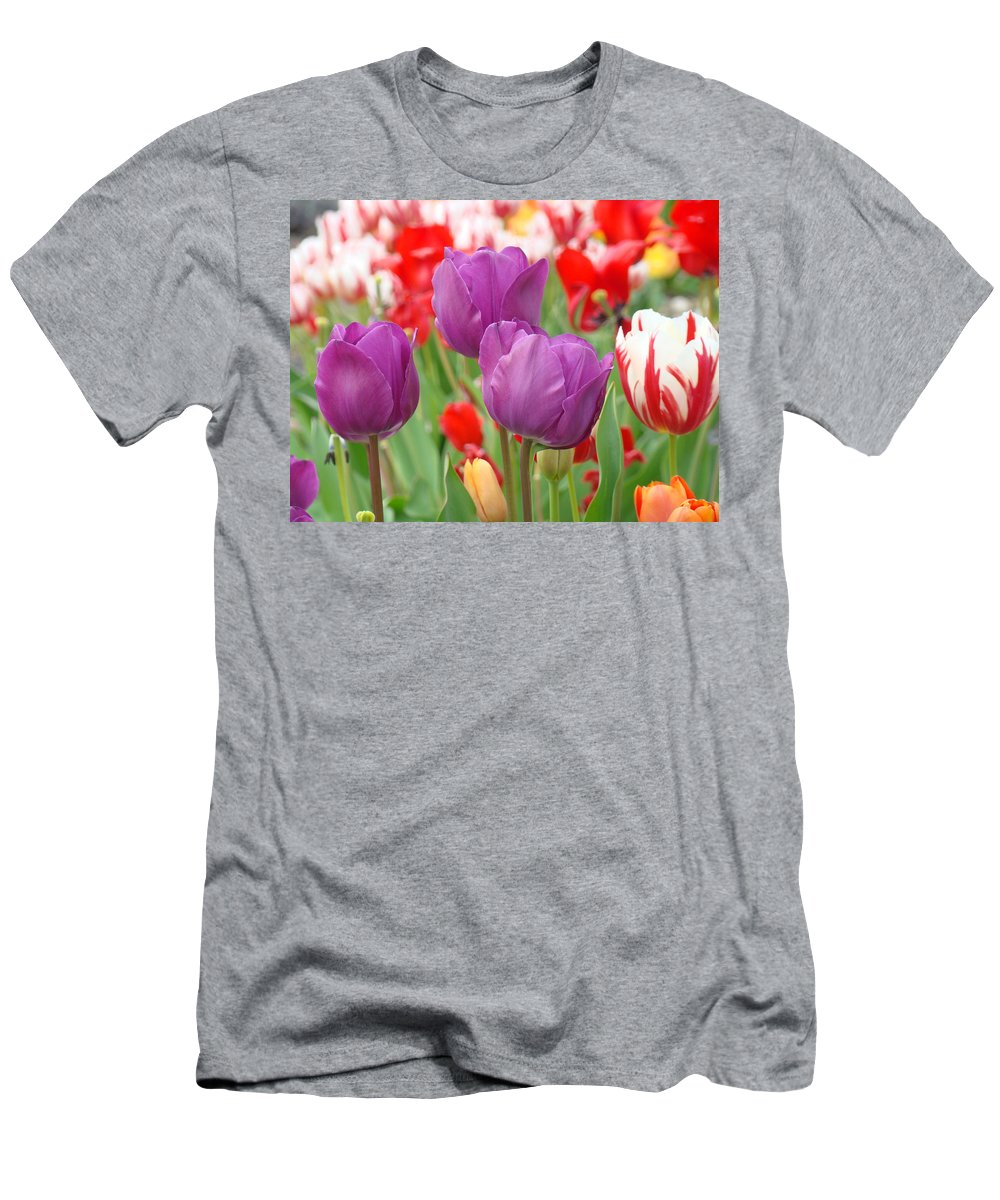 Purple Men's T-Shirt (Athletic Fit) featuring the photograph Colorful Spring Tulips Garden Art Prints by Baslee Troutman