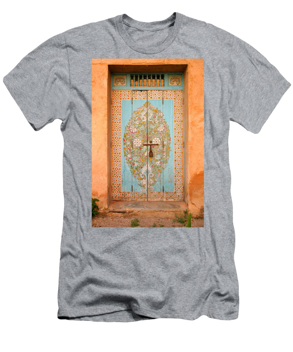 Door Men's T-Shirt (Athletic Fit) featuring the photograph Colourful Moroccan Entrance Door Sale Rabat Morocco by Ralph A Ledergerber-Photography