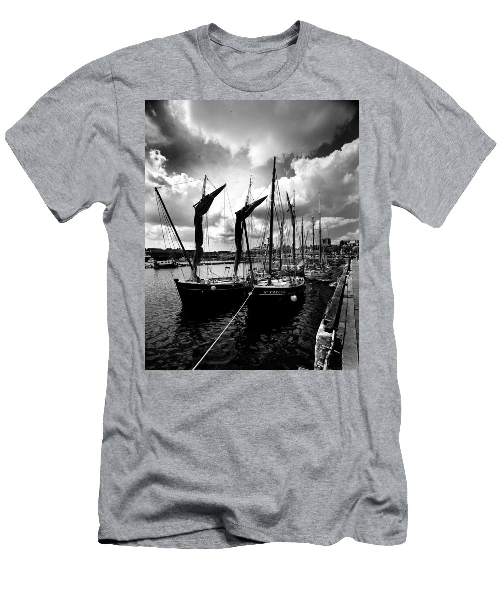Sailing Boat Men's T-Shirt (Athletic Fit) featuring the photograph Concarneau Harbour Brittany France by Jim Lowe