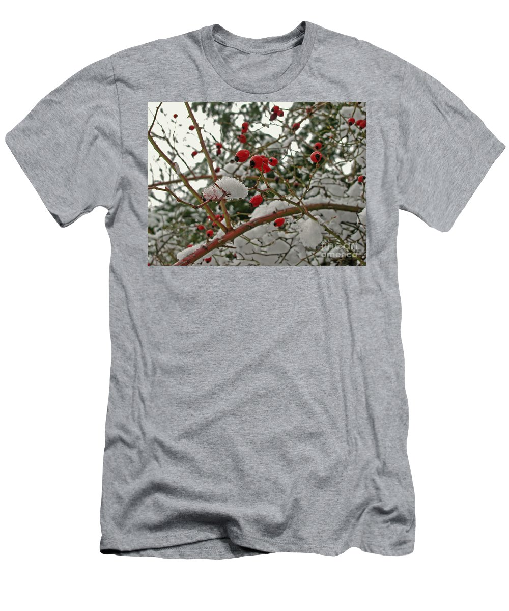Rosehips Men's T-Shirt (Athletic Fit) featuring the photograph Contrasts by Leone Lund