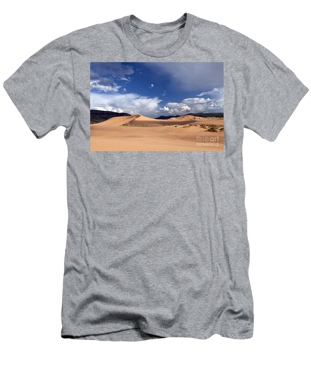 Dune Men's T-Shirt (Athletic Fit) featuring the photograph Coral Pink Sand Dunes by Rick Pisio