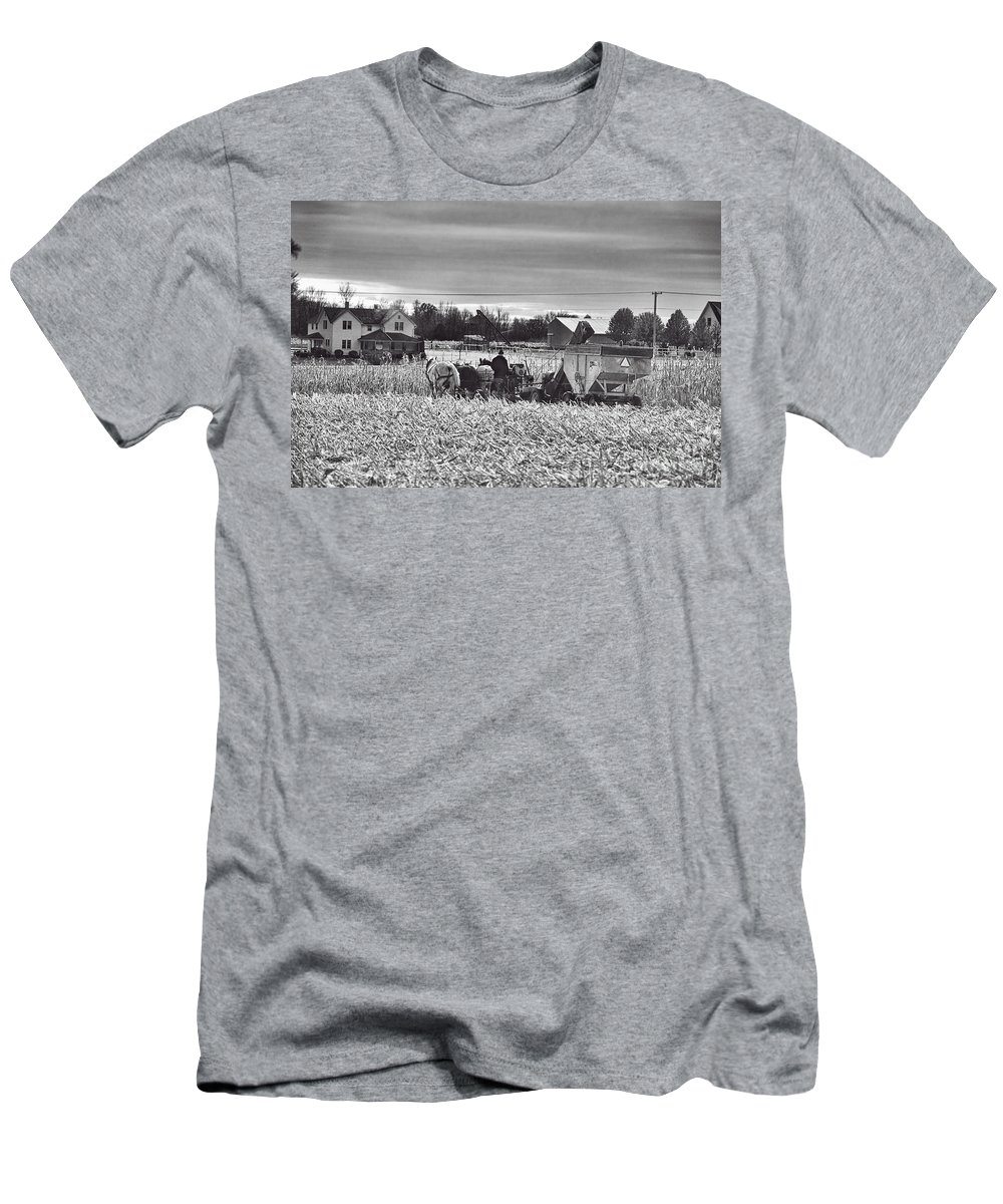 Amish Men's T-Shirt (Athletic Fit) featuring the photograph Corn Picker November 2013 by David Arment