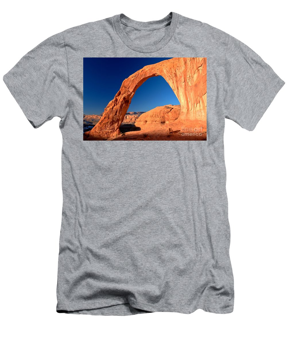 Corona Arch Men's T-Shirt (Athletic Fit) featuring the photograph Corona Sunrise by Adam Jewell