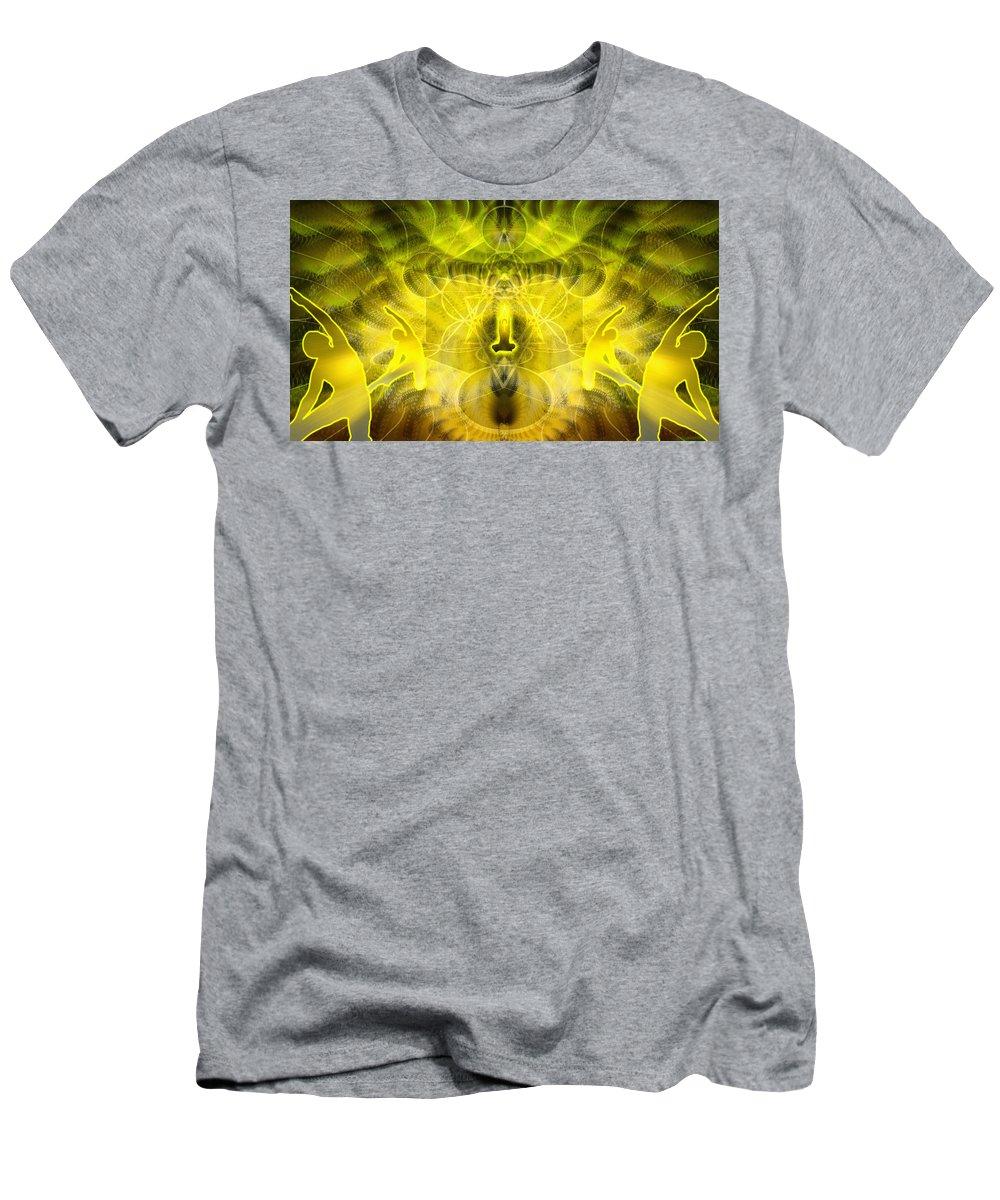 Cosmic Spiral Ascension Men's T-Shirt (Athletic Fit) featuring the digital art Cosmic Spiral Ascension 26 by Derek Gedney