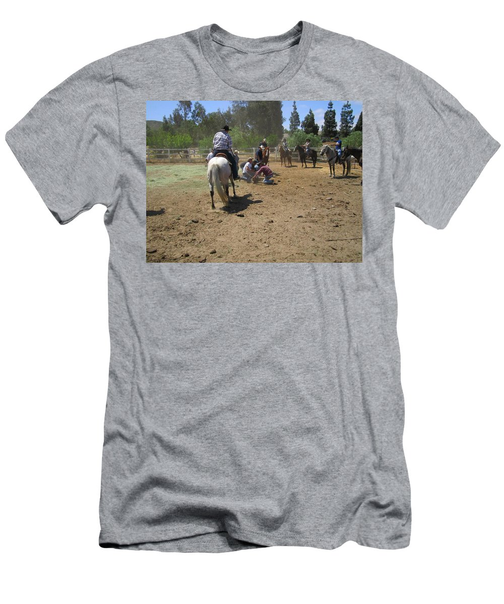 Cowboys Men's T-Shirt (Athletic Fit) featuring the photograph Cowboys At The Branding by Steve Scheunemann