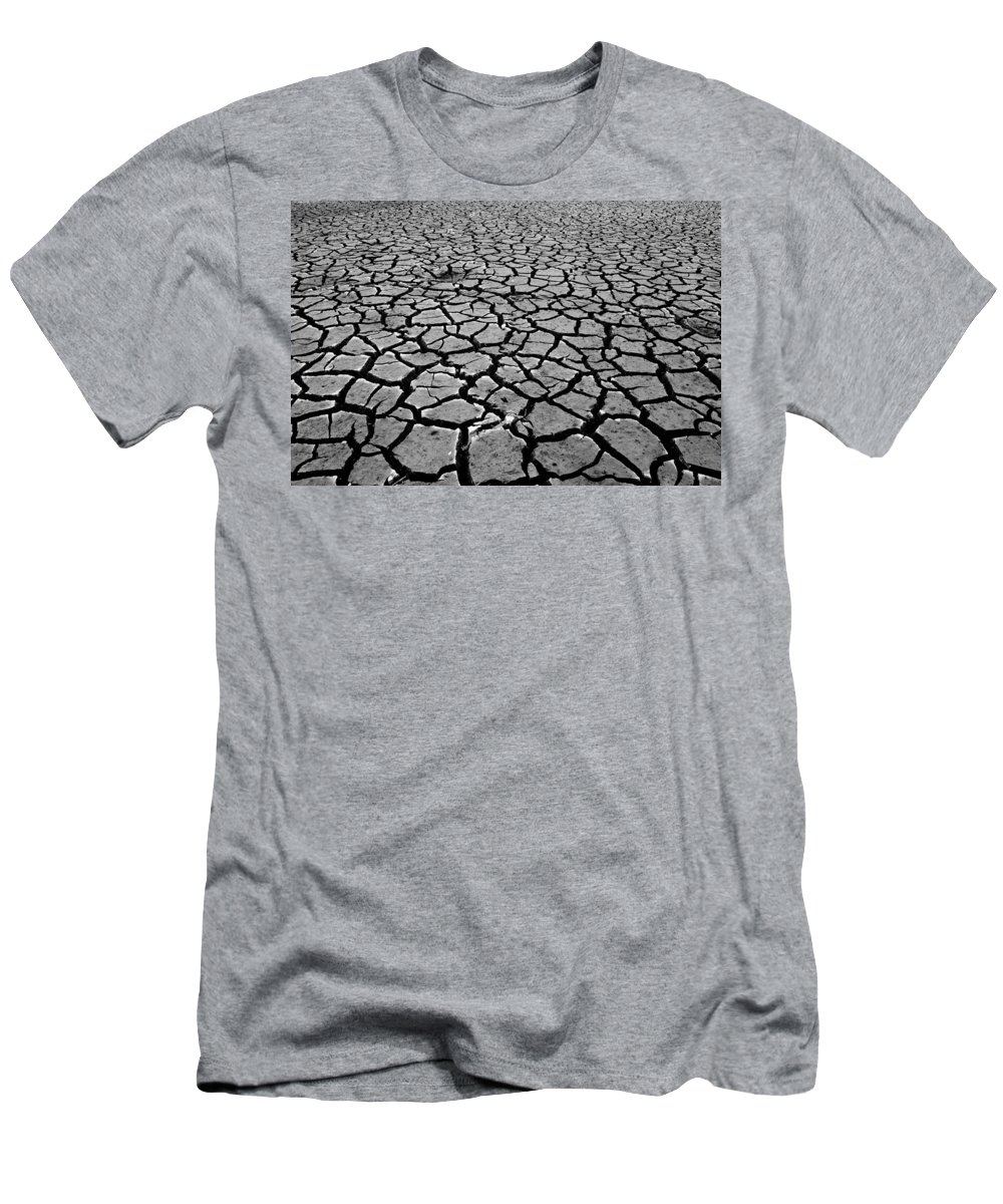 Emigrant Lake Men's T-Shirt (Athletic Fit) featuring the photograph Cracks For Miles Black And White by Teri Schuster