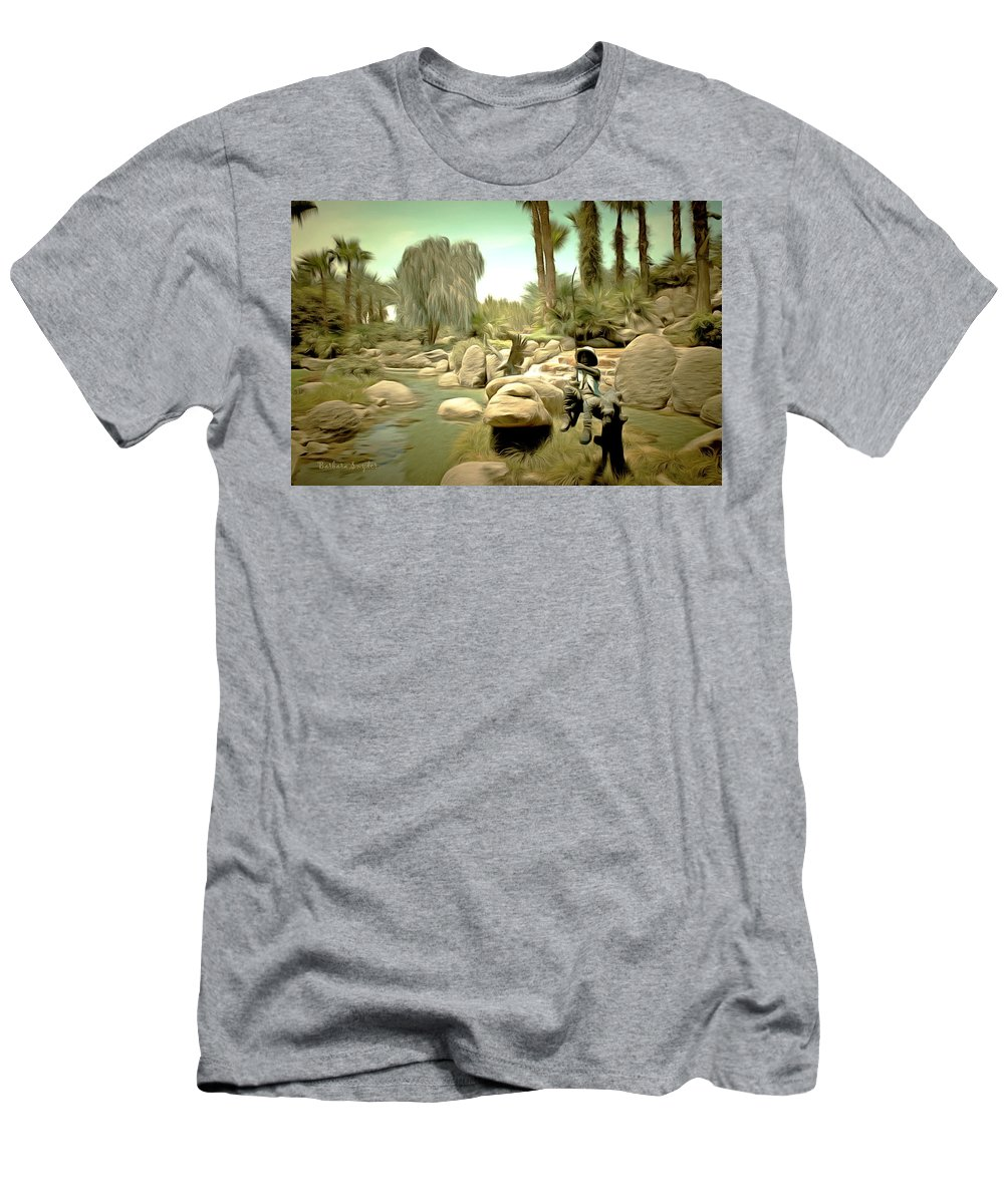 Barbara Snyder Men's T-Shirt (Athletic Fit) featuring the painting Creek At Jackalope Ranch Palm Springs by Barbara Snyder