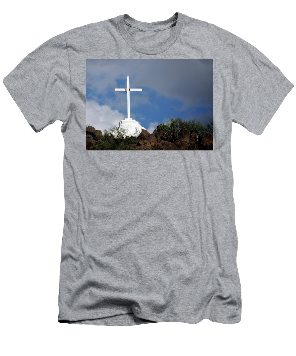 San Xavier De Bac Mission Men's T-Shirt (Athletic Fit) featuring the photograph Cross At San Xavier - Tucson by Jon Berghoff