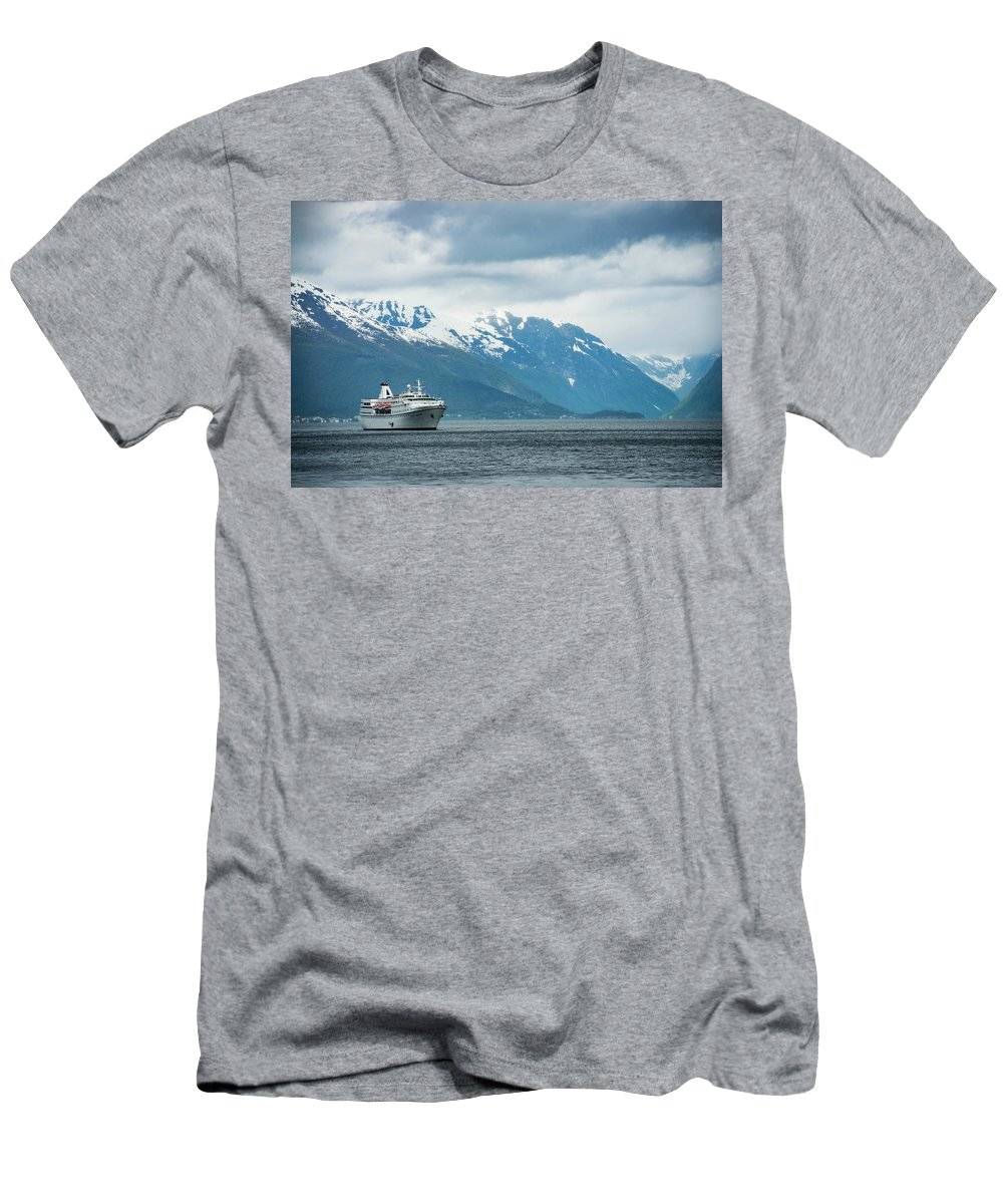 Horizontal Men's T-Shirt (Athletic Fit) featuring the photograph Cruise Ship In The Sognefjord In Norway by Brandon Huttenlocher
