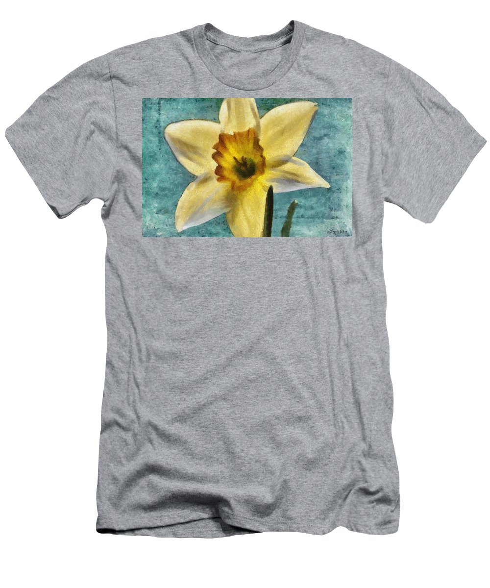 Bloom Men's T-Shirt (Athletic Fit) featuring the painting Daffodil by Jeffrey Kolker